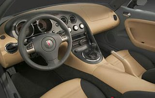 A leather-wrapped steering wheel
