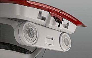 Speakers that fold out of the tailgate