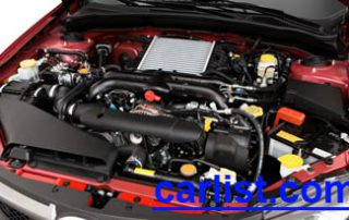 2009 Subaru WRX STI hatchback under the hood