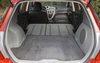 Rear seats fold down to provide a large cargo area.
