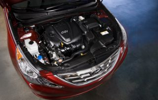 Hyundai's Theta II twin-scroll turbo-charged GDI engine displaces 2.0 liters and features DOHC and CVVT