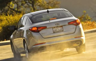 Optima LX features dual chrome-tipped exhausts and 16-inch steel wheels and tires