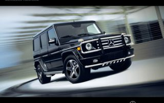 In the spacious cabin of all G Class wagons, a center console separates two front bucket seats