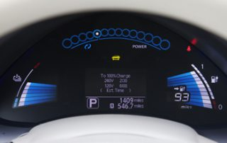 Nissan claims that the Leaf will go about 90 miles before a recharge