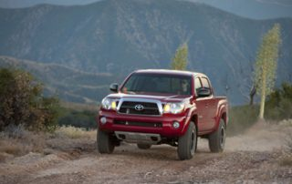 Tacoma gets minor changes this year, such as a new grille and standard air conditioning on all models