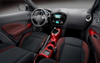 the cool colors of the interior