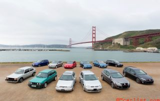 Seven generations of VW Golf family