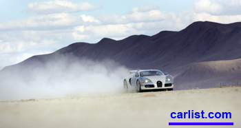 2008 Bugatti Veyron racing through the desert