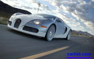 2008 Bugatti Veyron cruising down the road